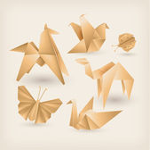 Vintage origami icons set — Stock Vector