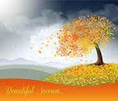 Autumn field with beautiful tree — Stock Vector