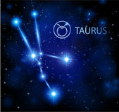 Night sky stars with taurus horoscope sign — Stock Vector