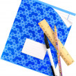 Stock Photo: Writing-book,school notebook with pen, pencil and wooden ruler