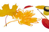 Autumn picture painted with yellow paint on a white background — Stock Photo