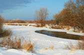 River covered with snow winter frosty morning — Stock Photo