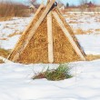 Hay.Haystack on the meadow near the village in the winter - Stock Photo