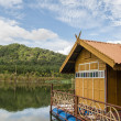 House on raft in the lake — 图库照片