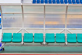 Coach and reserve benches in a soccer field — Stock Photo