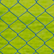 Metal mesh wire fence with grass background — Stock Photo