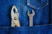Tools in jean back pocket — Foto Stock