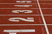 Racing lanes with numbers — Stockfoto
