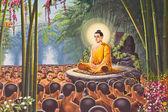 Hanuman painting on Temple of the Emerald Buddha wall , Bangkok — Stock Photo