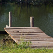 Wood bridge with river  — Stock Photo