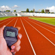 Stopwatch in athletics field — Stock Photo