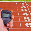 Stopwatch in athletics field — Photo