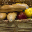 Basket that have the bread and the fruit — Stock Photo