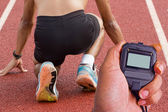 Male athlete all set before race starts. — Stock Photo