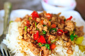 Thai food Thai spicy food, Fried pork with sweet basil.whit basi — Stock Photo