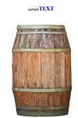 Wooden barrel for wine with steel ring. Clipping path included. — Stock Photo