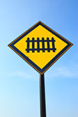 Railway Curvy road warning sign — Stock Photo