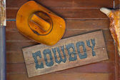 Cow boy hut on wall background — Stock Photo