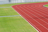 Curve of Race Track in Big Football Stadium — Stock Photo