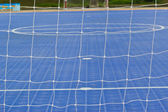 White football net, green grass ,futsal goal — Foto Stock