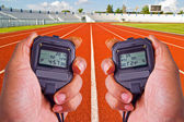 Stopwatch in athletics field — Stockfoto