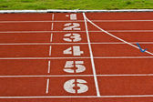 Start running track rubber standard red color — Stock Photo