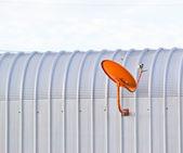 Orange Receiver.Satellite dish — Stock Photo