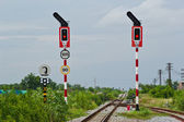 Traffic sign on railway stations — Stock Photo