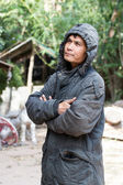 Asia man in the group cold clothing — Stock Photo
