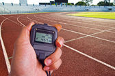 Stopwatch in athletics field — Stock fotografie