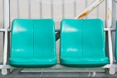 Coach and reserve benches in football stadium — Stock Photo