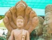 Gamla sten buddha staty — Stockfoto