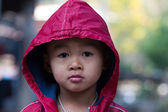 Asian boy on a cold winter day — Stok fotoğraf
