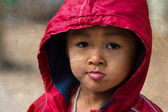 Asian boy on a cold winter day — Stock Photo