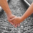 Stock Photo: Lover travels,straight railroad track