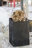 Old rust bucket for honey beeswax — Stock Photo