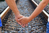 Lover travels,straight railroad track — Stock Photo