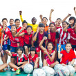 Foto Stock: Group team footballer youth woman team Chonburi picture