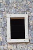 New window on cement wall background — Stock Photo