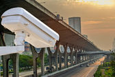Security camera detects the movement of traffic. Skyscraper roof — Stock Photo