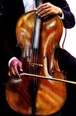 Playing the violin. Musical instrument with performer hands on d — Stock Photo