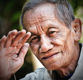 Asian old senior man candid portrait — Foto Stock