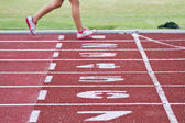 Cropped image of  runner on competitive running — Foto Stock
