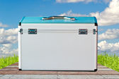 Aluminum safety metal briefcase — Stock Photo