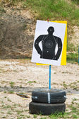 Hand with gun shooting target — Stockfoto