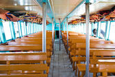 Seats wooden on the boat — Stock Photo