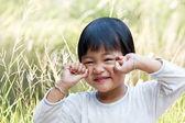 Beautiful cute happy little girl with headphones — Stock Photo