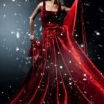 Romantic beauty blond Woman in elegant red dress — Stock Photo #17398473