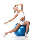 Kobieta Sport w doskonały kształt z zielony środek. zdrowe lifest — Zdjęcie stockowe
