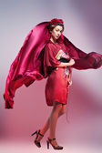 Fashion asian woman wearing traditional japanese red kimono. Gei — Stock Photo